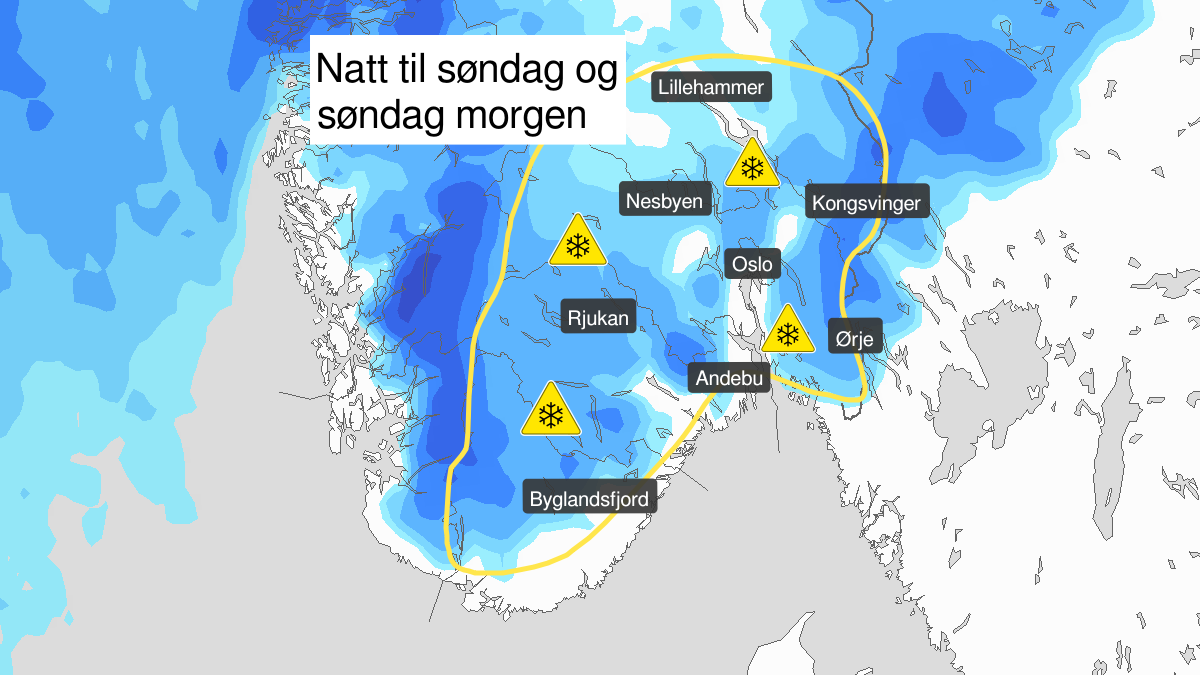 Map of heavy snow, yellow level, Oestlandet and Telemark, 09 May 22:00 UTC to 10 May 09:00 UTC.