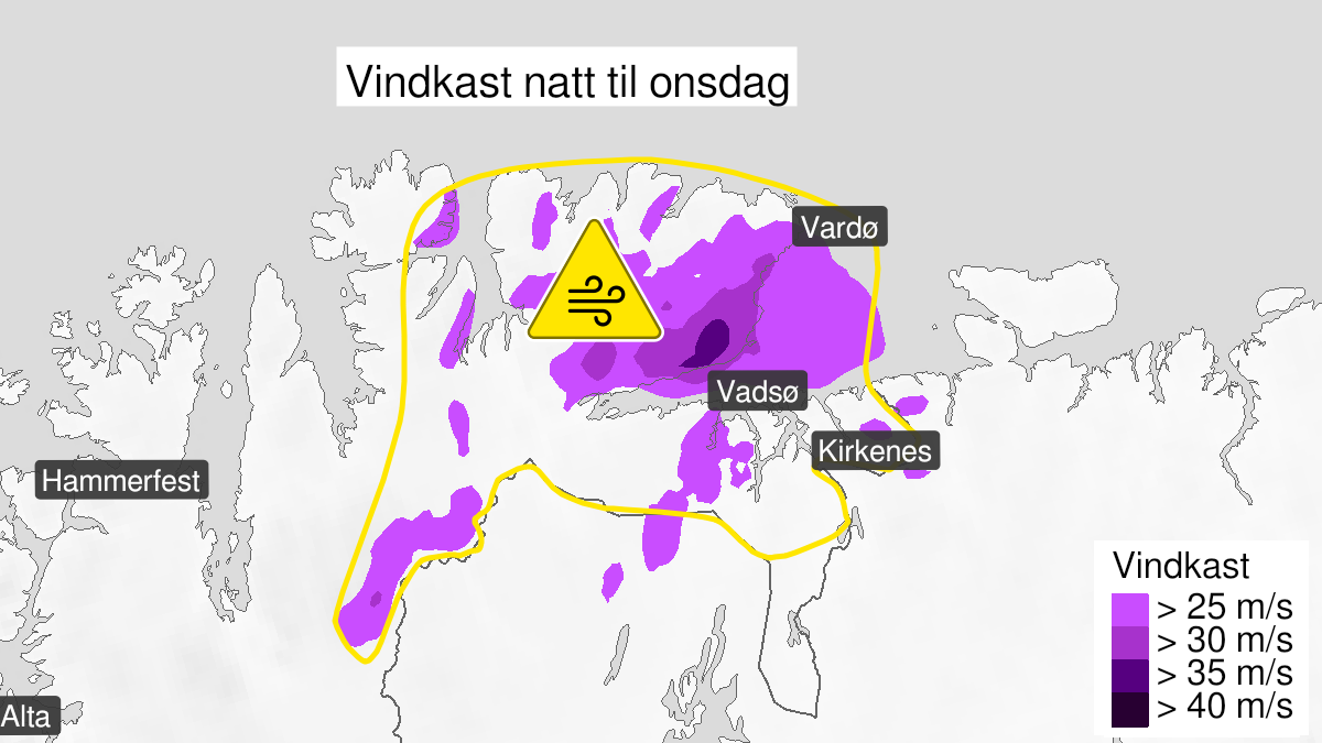 Map of strong wind gusts, yellow level, Øst-Finnmark, 03 August 21:00 UTC to 04 August 08:00 UTC.