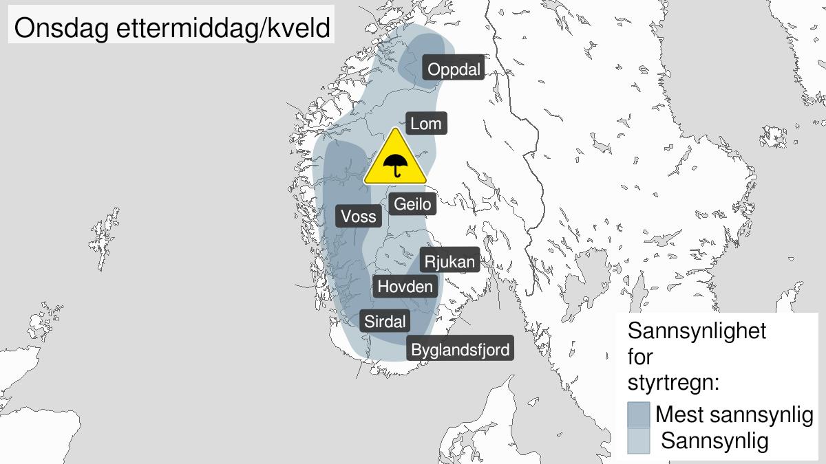 Kart over styrtregn, gult nivå, Vestlandet sør for Stad, 17 June 12:00 UTC til 17 June 18:00 UTC.