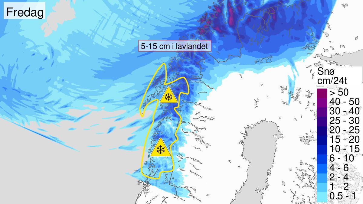 Map of heavy snow, yellow level, Nordland, 13 May 21:00 UTC to 15 May 21:00 UTC.