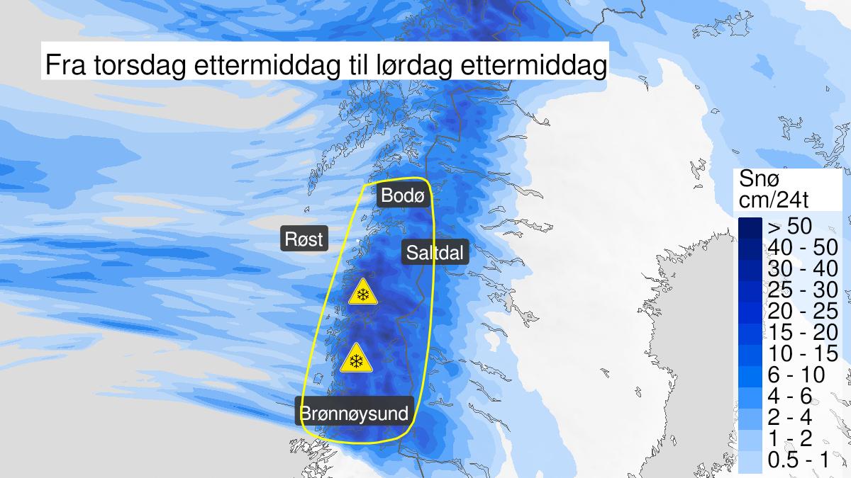 Kart over snø, gult nivå, Helgeland, Saltfjellet og Salten, 11 February 12:00 UTC til 13 February 15:00 UTC.