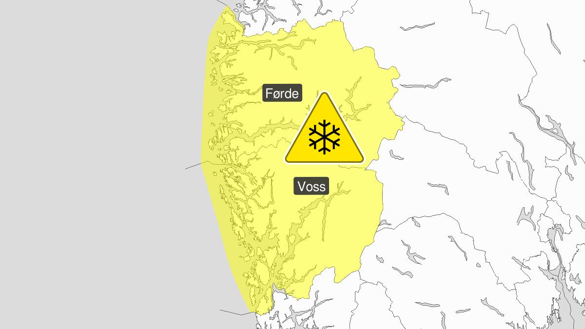 Mye snø, gult nivå, Hordaland og Sogn og Fjordane, 03 January 08:00 UTC til 04 January 06:00 UTC.