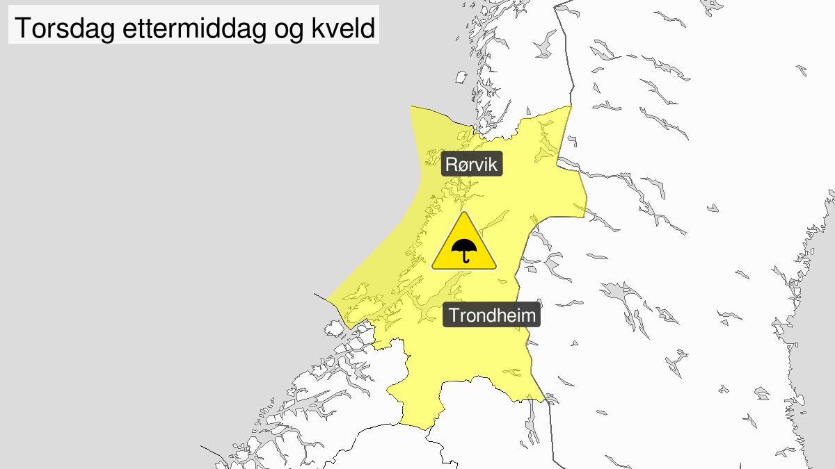 Kraftige regnbyger, gult nivå, Trøndelag, 29 August 11:00 UTC til 29 August 22:00 UTC.