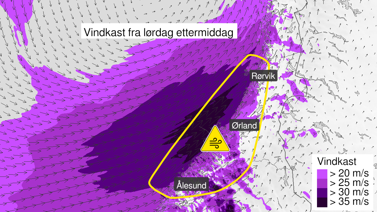 Map of strong wind gusts, yellow level, Moere and Romsdal and Troendelag, 21 November 12:00 UTC to 22 November 09:00 UTC.