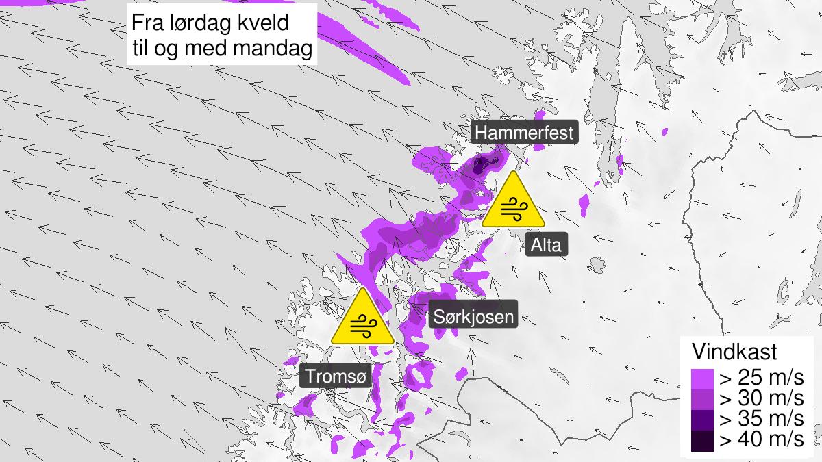 Kart over normale vindkast, grønt nivå, Nord-Troms og Kyst- og fjordstrøkene i Vest-Finnmark, 19 February 11:00 UTC til 19 February 12:00 UTC.