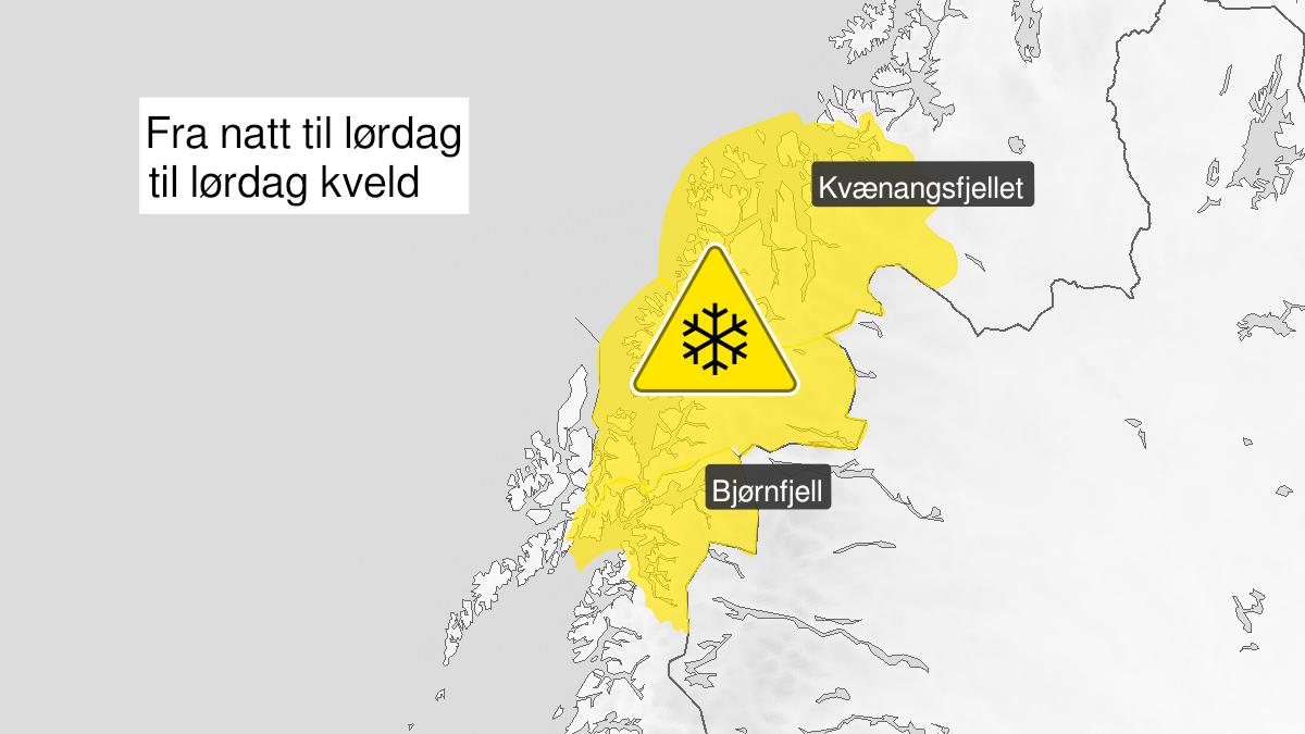 Kart over snø, gult nivå, Ofoten og Troms, 25 September 23:00 UTC til 26 September 18:00 UTC.