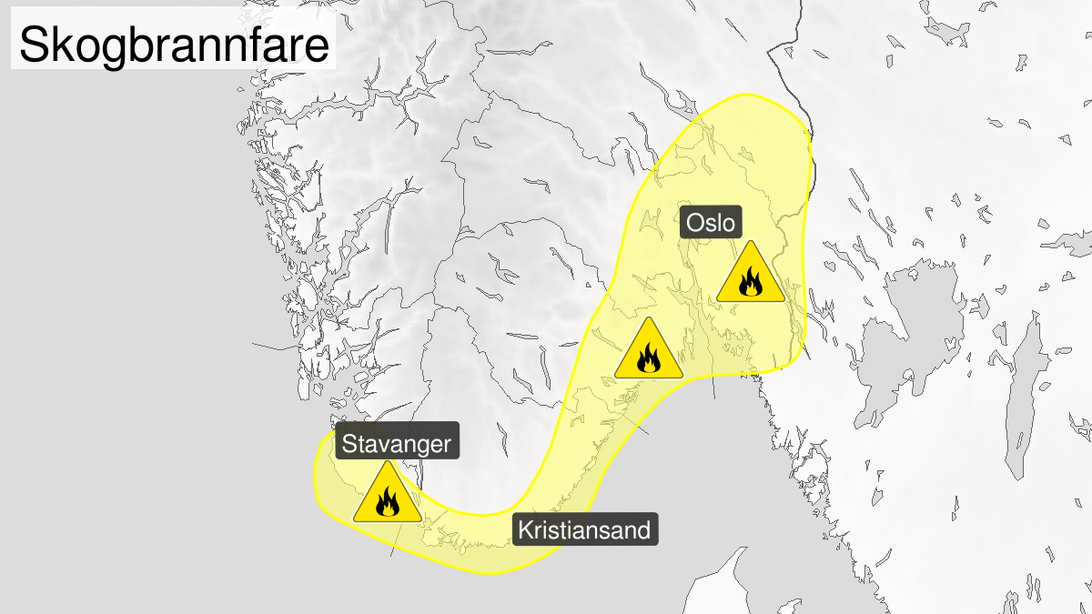 Kart over skogbrannfare, gult nivå, Østfold, Akershus, Oslo, Buskerud, Vestfold, Telemark, Aust-Agder, Vest-Agder, Stavangerregionen og Jæren og Dalane, 27 March 08:00 UTC til 31 March 10:00 UTC.