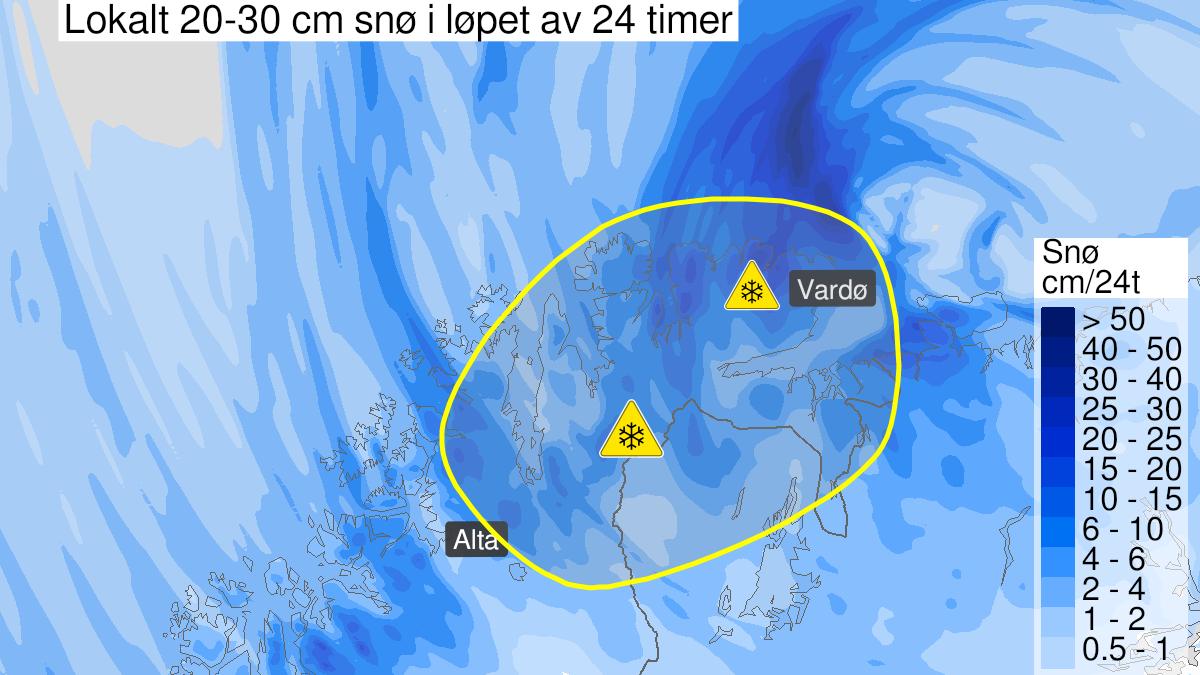 Kart over snø, gult nivå, Øst-Finnmark, 29 April 15:00 UTC til 30 April 18:00 UTC.