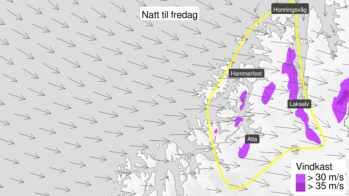Map of strong wind gusts, yellow level, Kyst- and fjordstroekene i Vest-Finnmark, 14 May 15:00 UTC to 15 May 09:00 UTC.