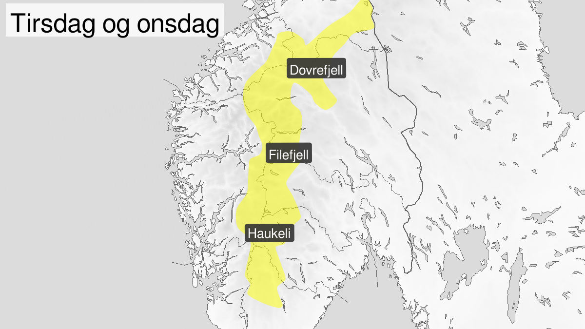 Blowing snow, yellow level, Fjellet i Soer-Norge, 21 January 03:00 UTC to 22 January 10:00 UTC.
