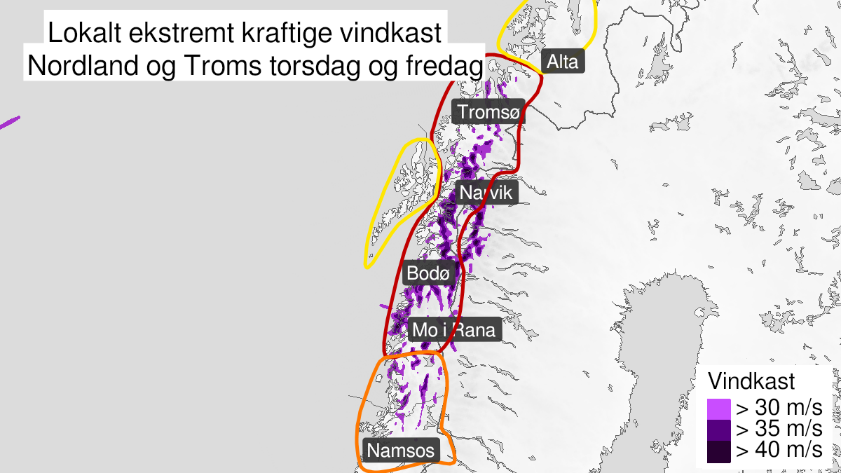 Map of strong wind gusts, yellow level, Lofoten and Vesteraalen, 21 January 18:00 UTC to 22 January 06:00 UTC.
