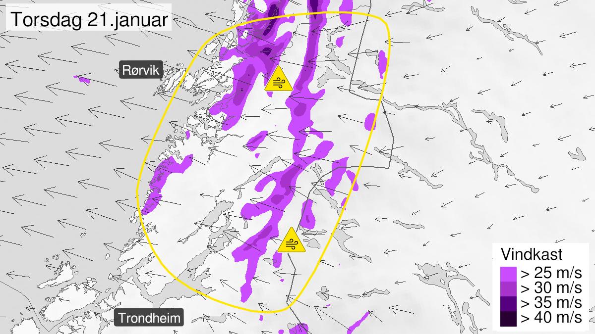 Kart over kraftige vindkast, gult nivå, Nord-Trøndelag, 20 January 23:00 UTC til 22 January 03:00 UTC.