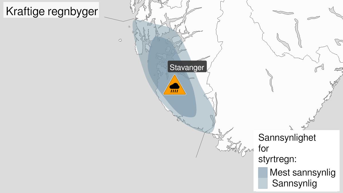 Kart over svært kraftig styrtregn, oransje nivå, Rogaland, 26 July 22:00 UTC til 27 July 22:00 UTC.