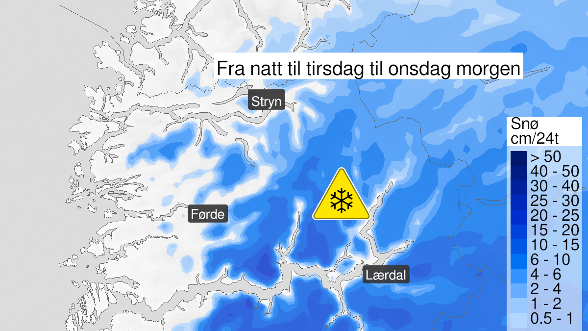 Map of snow, yellow level, Sogn og Fjordane, 19 October 23:00 UTC to 21 October 06:00 UTC.