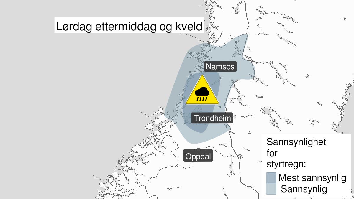 Kart over styrtregn pågår, gult nivå, Nord-Trøndelag, 08 August 13:00 UTC til 08 August 19:00 UTC.