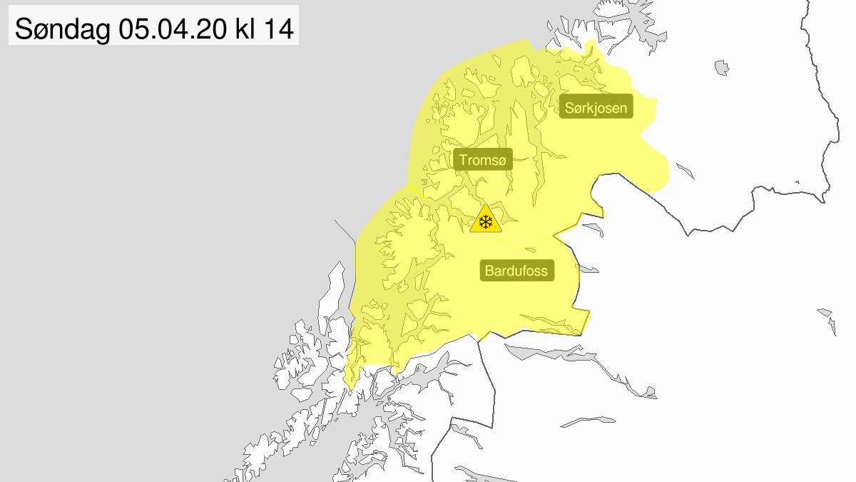Kart over kraftig snøfokk, gult nivå, Troms, 05 April 05:00 UTC til 05 April 15:00 UTC.