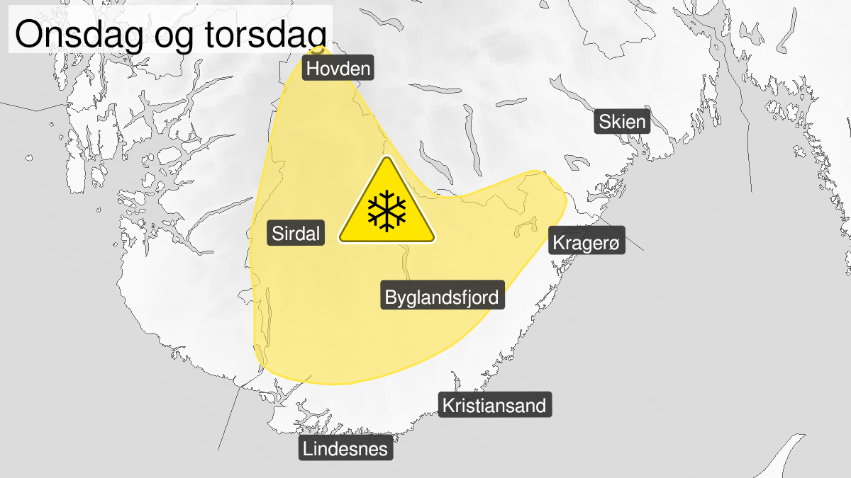 Kart over snø, gult nivå, Agder, 10 March 12:00 UTC til 11 March 12:00 UTC.