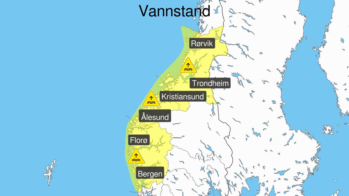 Høy vannstand, gult nivå, Hordaland, Sogn og Fjordane, Møre og Romsdal og Trøndelag, 14 January 11:00 UTC til 14 January 14:00 UTC.