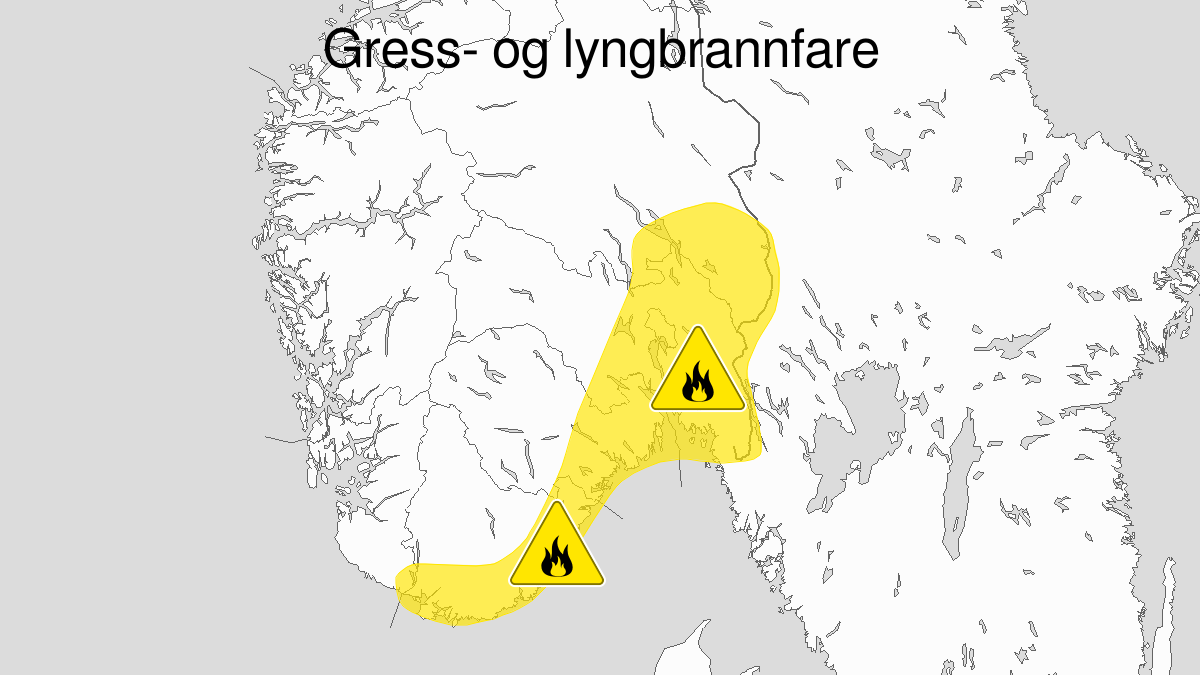 Kart over skogbrannfare, gult nivå, Østafjells, 06 April 06:00 UTC til 10 April 22:00 UTC.