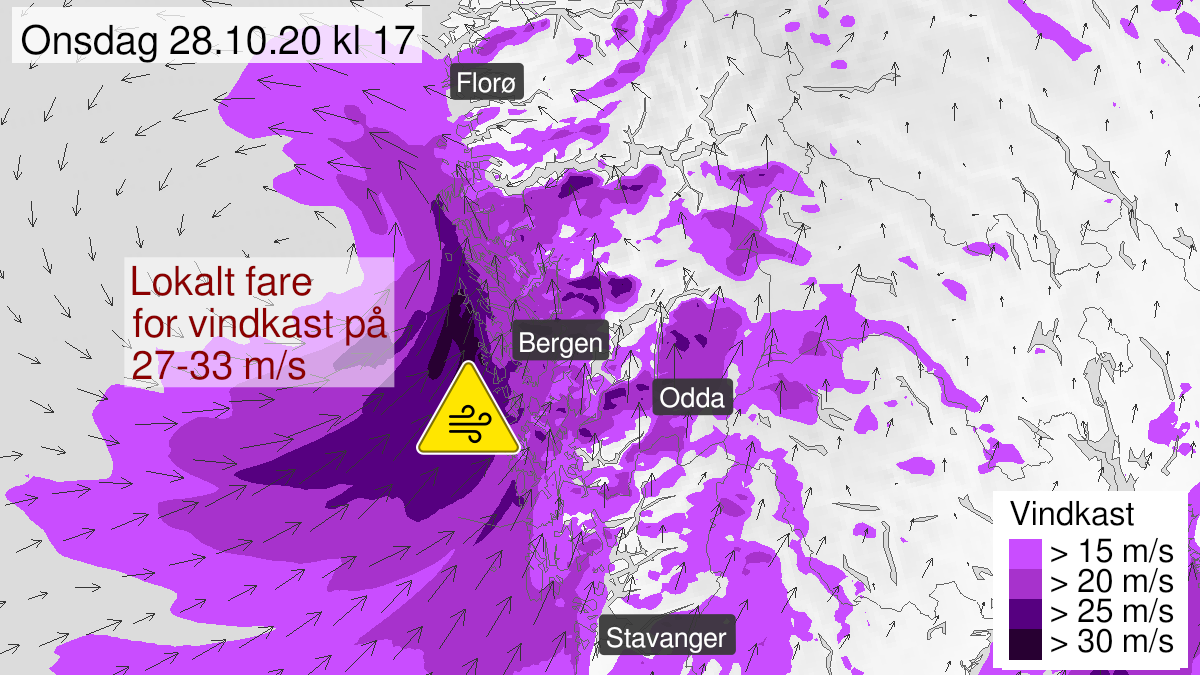 Map of strong wind gusts, yellow level, Hordaland, 28 October 10:00 UTC to 28 October 19:00 UTC.