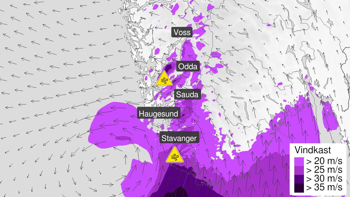 Kart over kraftige vindkast, gult nivå, Rogaland, 21 January 13:00 UTC til 21 January 20:00 UTC.