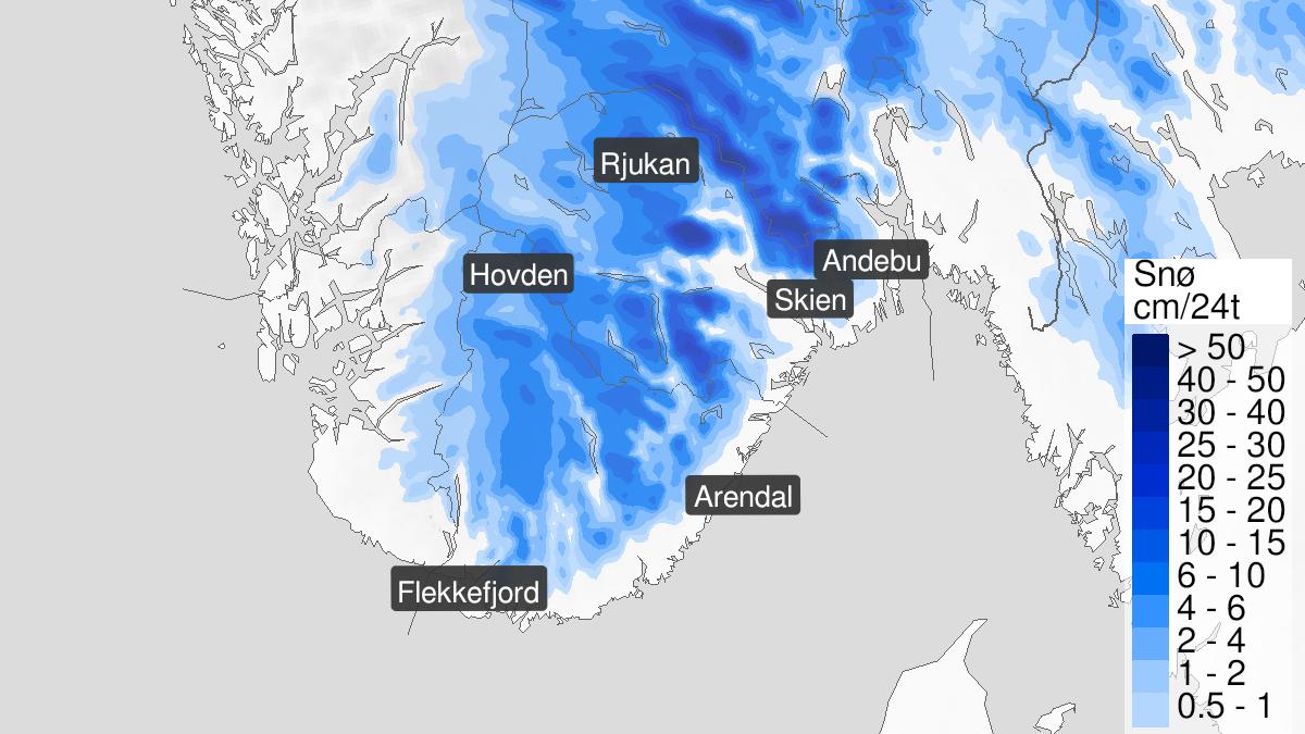 Kart over snø, gult nivå, Agder, Telemark og Vestfold, 04 May 06:00 UTC til 05 May 19:00 UTC.