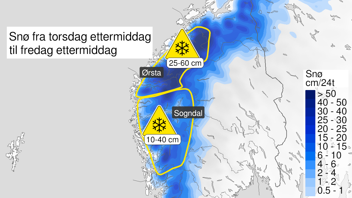 Kart over snø, gult nivå, Hordaland, Sogn og Fjordane og Møre og Romsdal, 21 October 13:00 UTC til 22 October 13:00 UTC.