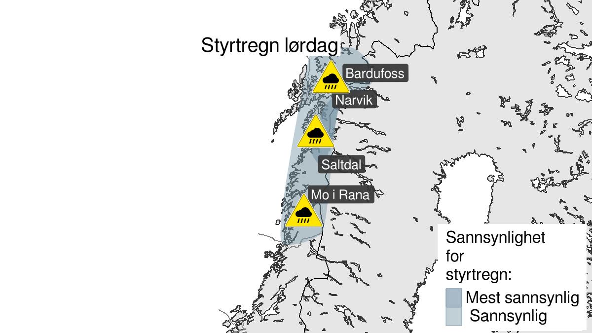 Kart over styrtregn, gult nivå, Nordland og Sør-Troms, 08 August 12:00 UTC til 09 August 00:00 UTC.