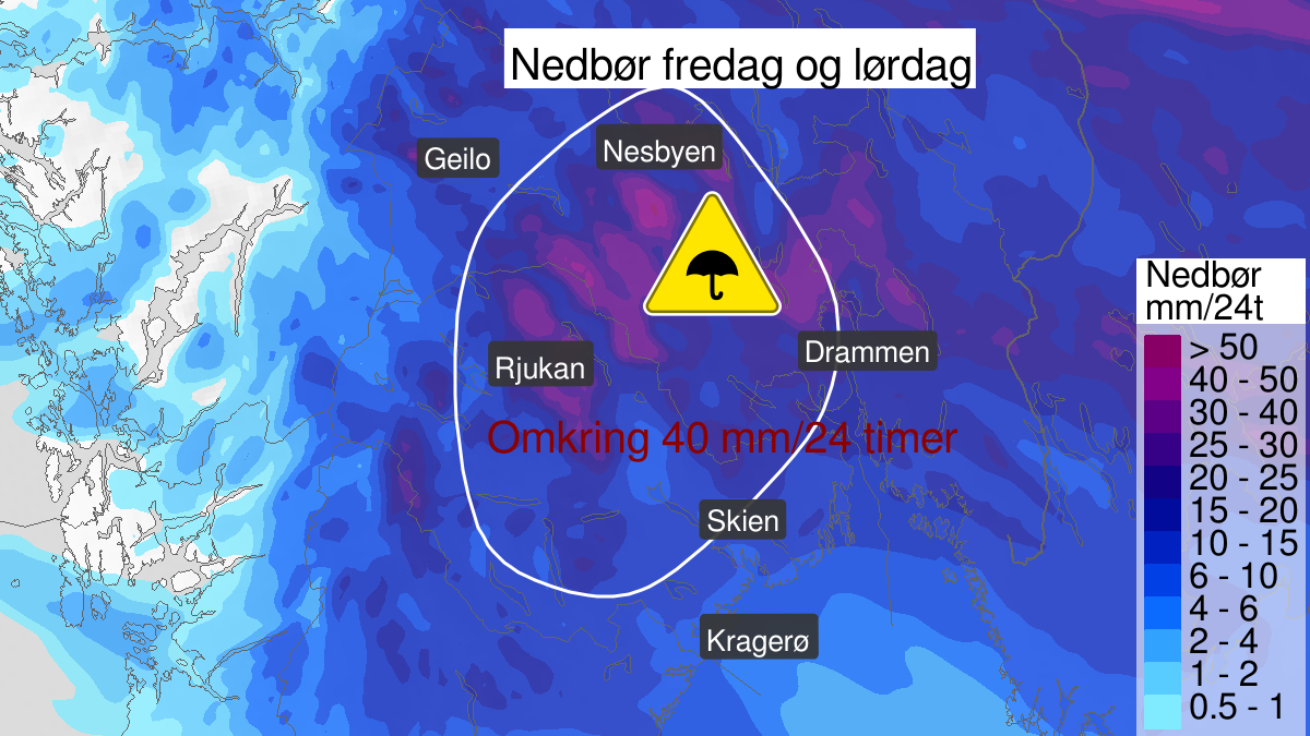 Kart over mye regn, gult nivå, Buskerud, Vestfold og Telemark, 05 June 06:00 UTC til 06 June 15:00 UTC.