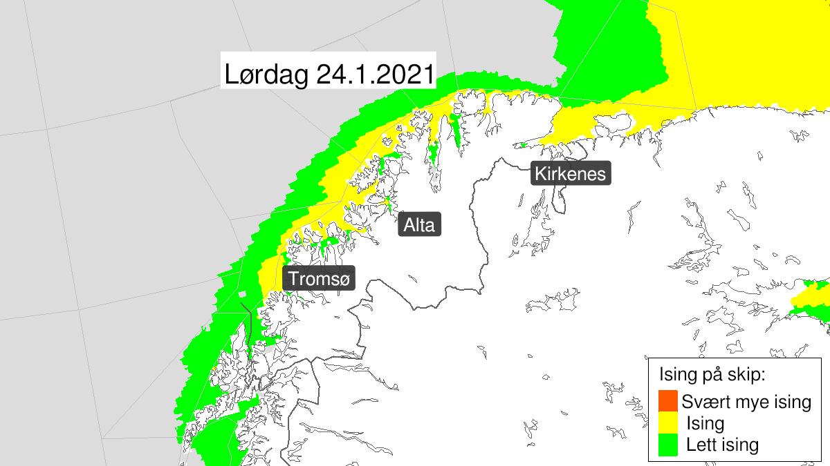 Kart over moderat ising på skip, gult nivå, Troms og Kyst- og fjordstrøkene i Finnmark, 23 January 18:00 UTC til 25 January 00:00 UTC.