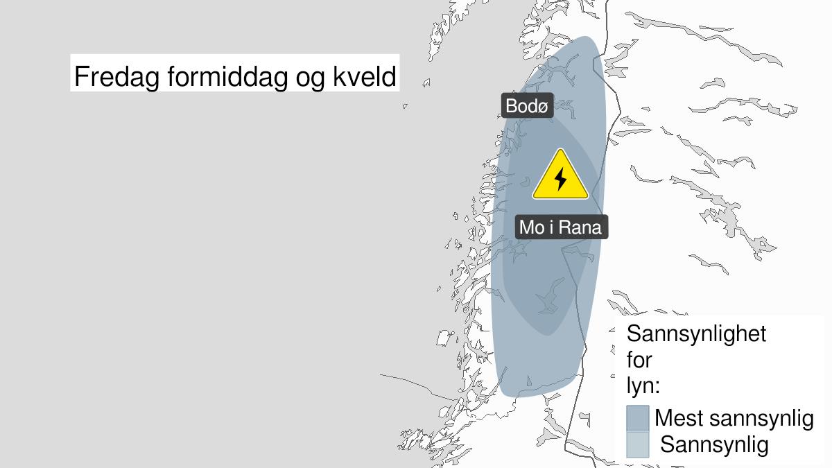Kart over mye lyn, gult nivå, Helgeland, Saltfjellet og Salten, 30 July 09:00 UTC til 30 July 20:00 UTC.