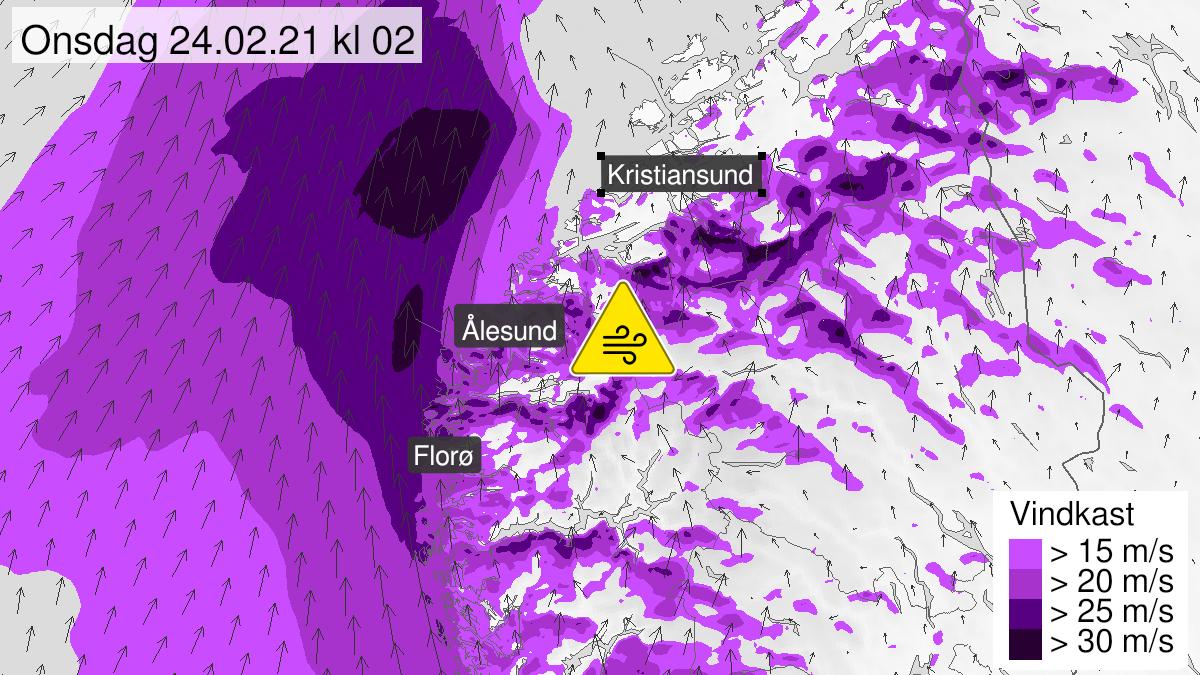 Kart over kraftige vindkast, gult nivå, Sogn, Fjordane og Møre og Romsdal, 23 February 19:00 UTC til 24 February 06:00 UTC.
