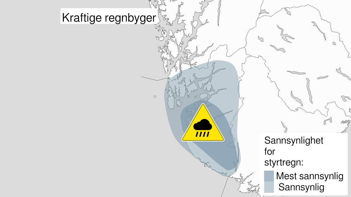 Map of heavy rainshowers, yellow level, Rogaland, 26 July 22:00 UTC to 27 July 21:00 UTC.