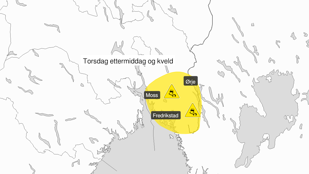 Map of ice, yellow level, Oestfold, 18 February 14:00 UTC to 18 February 23:00 UTC.