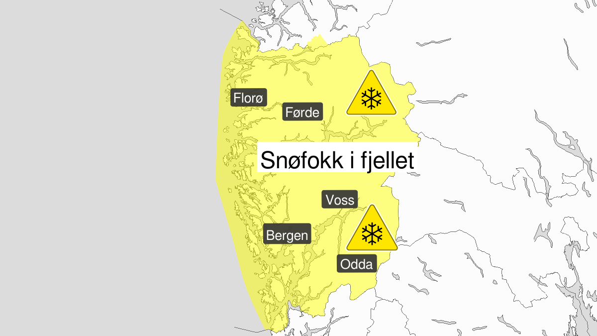 Kraftig snøfokk, gult nivå, Vestland fylke, 14 January 12:00 UTC til 16 January 12:00 UTC.