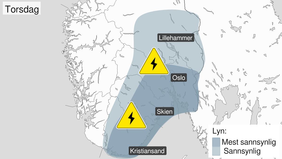 Kart over mye lyn pågår, gult nivå, Østafjells, 29 July 04:00 UTC til 29 July 18:00 UTC.