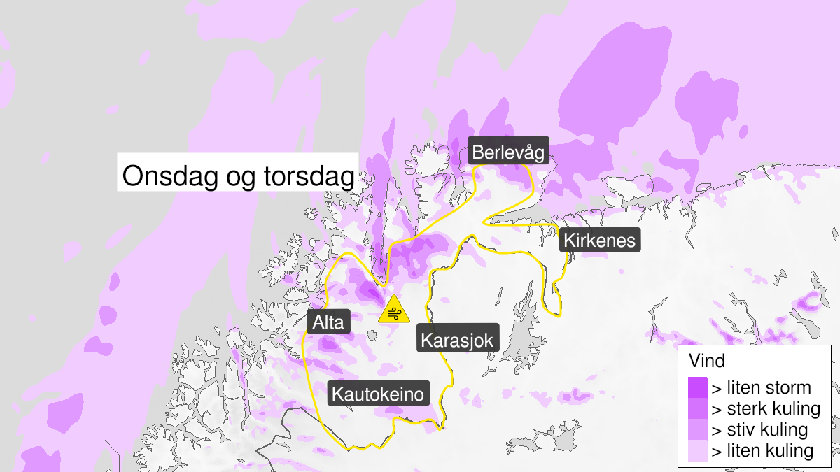 Map of blowing snow, yellow level, Finnmark, 02 December 08:00 UTC to 03 December 23:00 UTC.