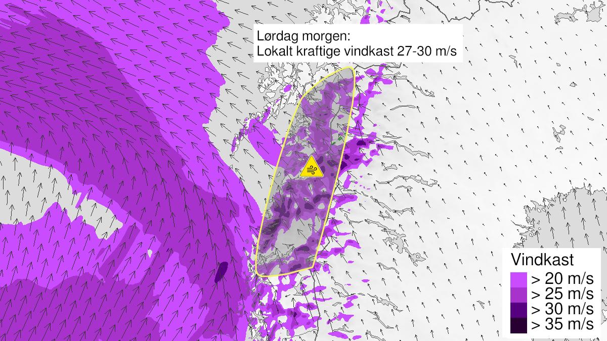 Map of strong wind gusts, yellow level, Helgeland, Saltfjellet, Salten and Ofoten, 21 November 03:00 UTC to 21 November 12:00 UTC.