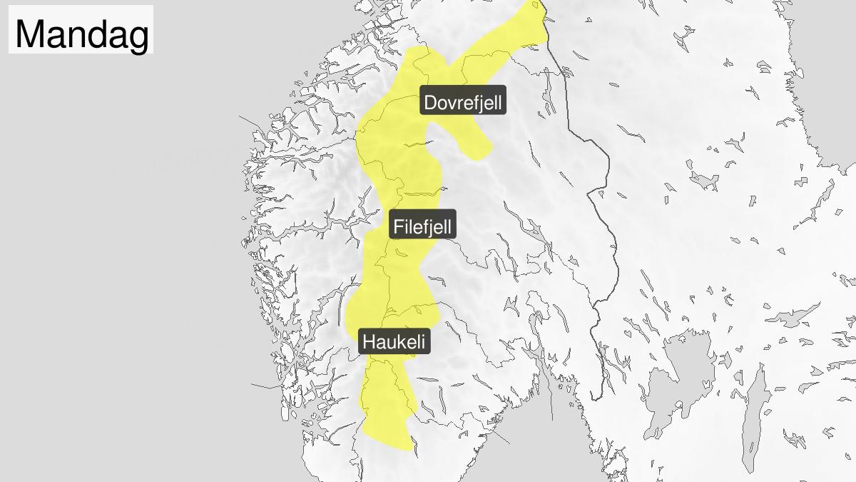 Is, gult nivå, Fjellet i Sør-Norge, 20 January 00:00 UTC til 21 January 03:00 UTC.
