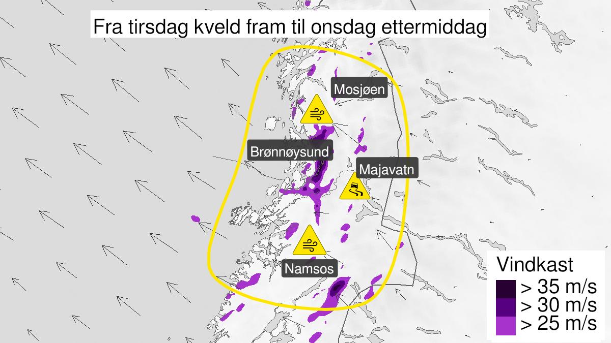 Kart over kraftige vindkast, gult nivå, Namdalen og Sør-Helgeland, 16 February 18:00 UTC til 17 February 12:00 UTC.