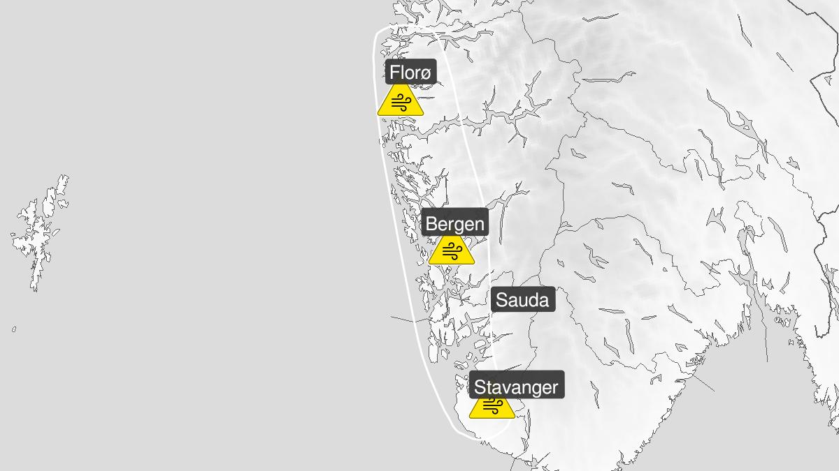 Kart over kraftige vindkast, gult nivå, Vestland fylke, 10 May 17:00 UTC til 10 May 22:00 UTC.