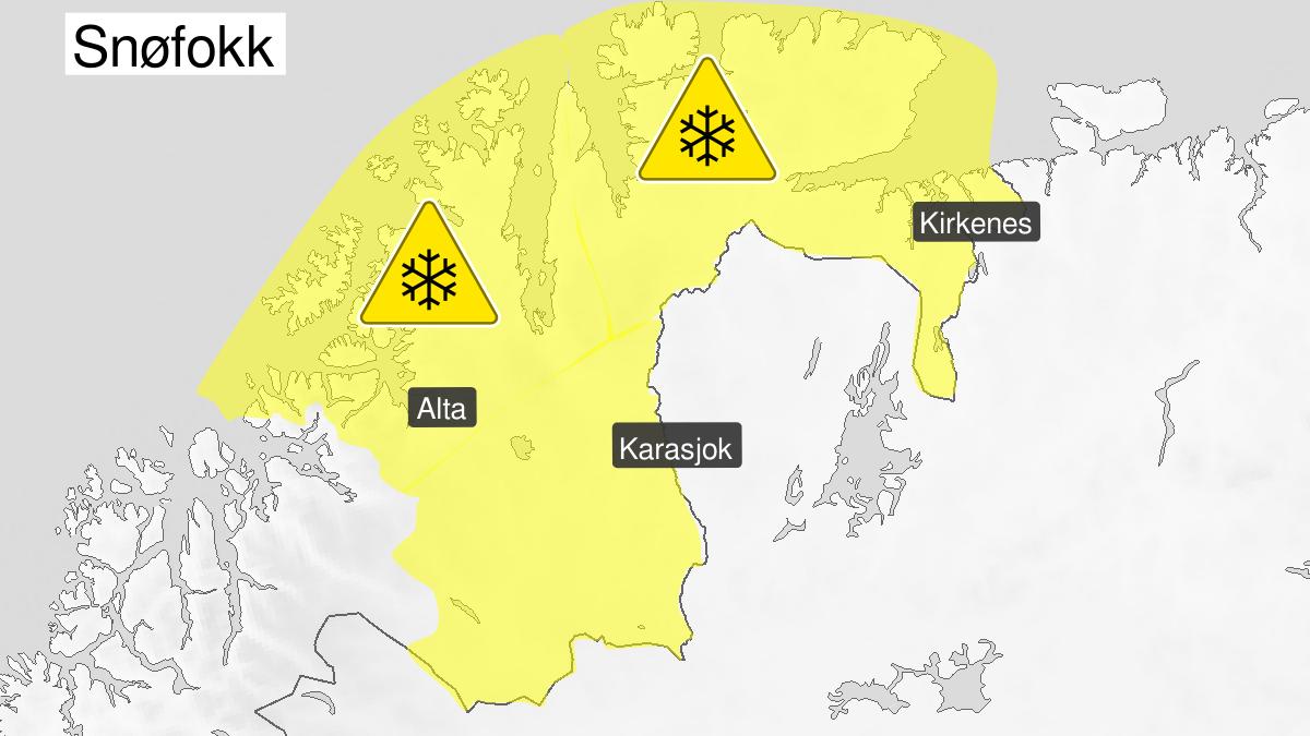 Kart over kraftig snøfokk, gult nivå, Finnmark, 28 March 03:00 UTC til 29 March 06:00 UTC.