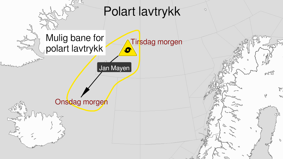 Kart over polart lavtrykk, gult nivå, C2, D2, 19 October 06:00 UTC til 20 October 03:00 UTC.