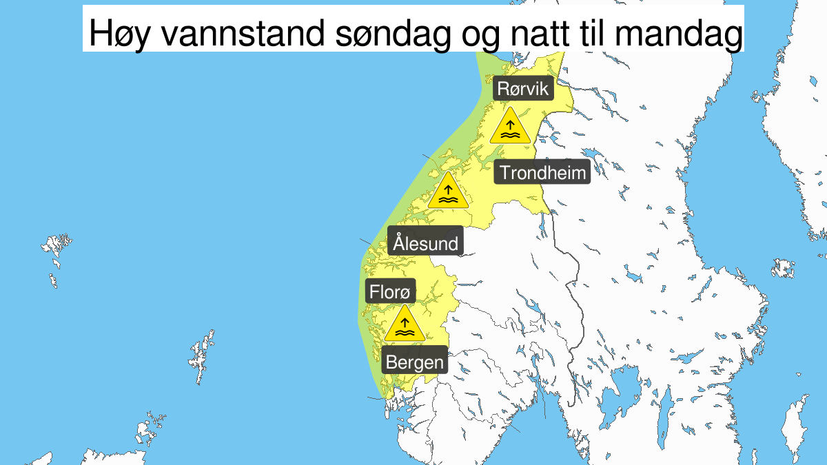 High water level, yellow level, Hordaland, Sogn and Fjordane, Moere and Romsdal and Troendelag, 09 February 09:00 UTC to 10 February 01:00 UTC.