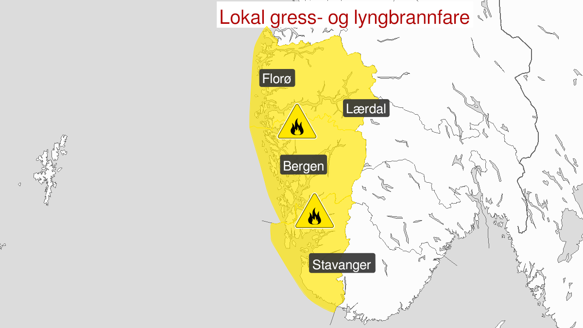 Map of forest fire danger, yellow level, Vestlandet south of Stad, 04 May 10:00 UTC to 08 May 22:00 UTC.