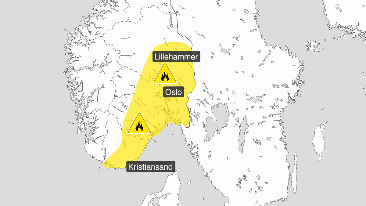 Map of forest fire danger expected, yellow level, Oestafjells, 22 September 00:00 UTC to 23 September 21:00 UTC.