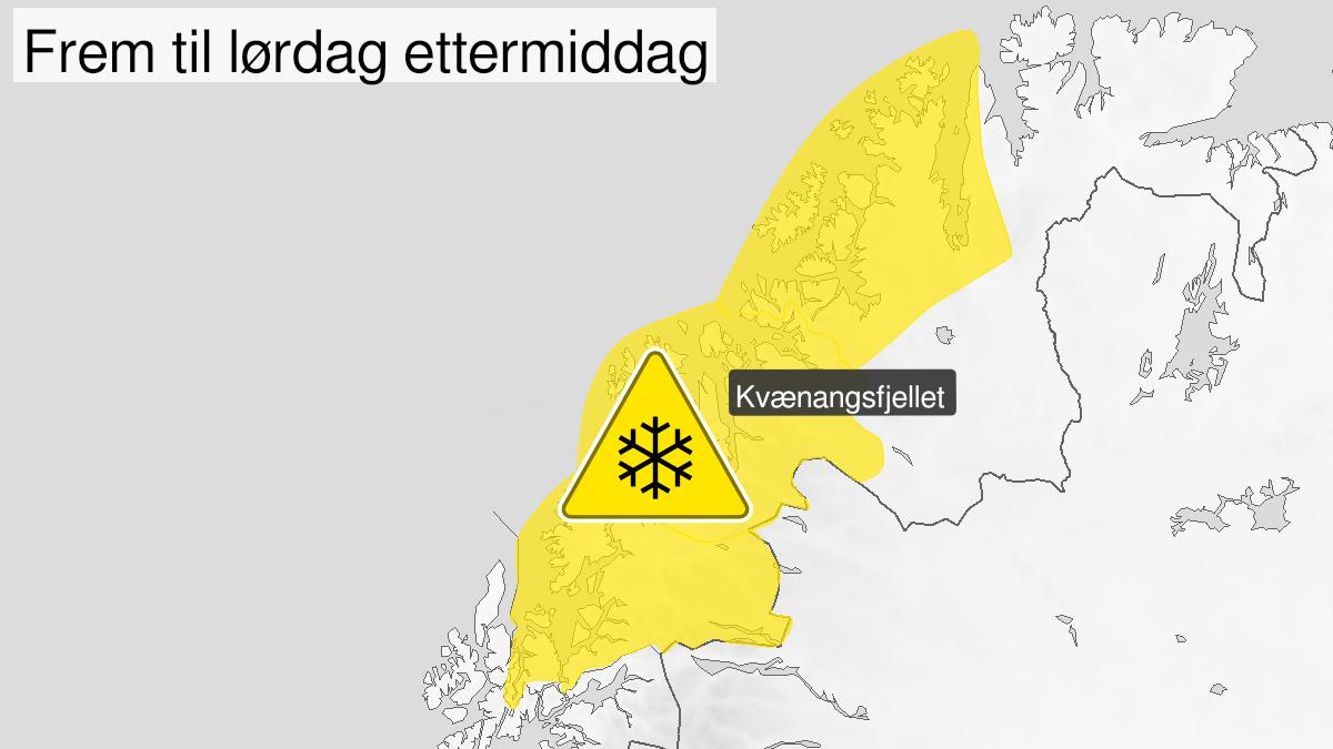 Kart over snø, gult nivå, Troms og Kyst- og Fjordstrøkene i Vest-Finnmark, 26 September 00:00 UTC til 26 September 13:00 UTC.