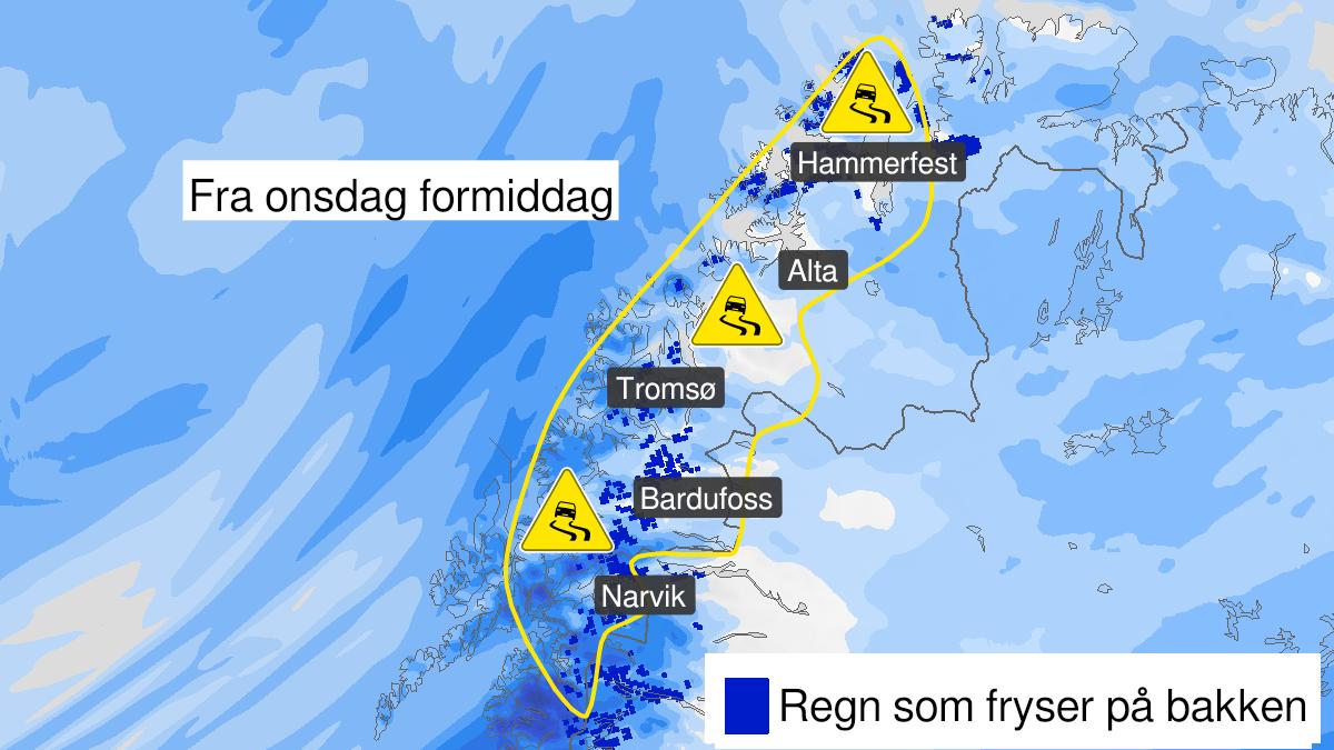Map of ice, yellow level, Ofoten, Troms and Kyst- and fjordstroekene i Vest-Finnmark, 24 February 10:00 UTC to 25 February 10:00 UTC.