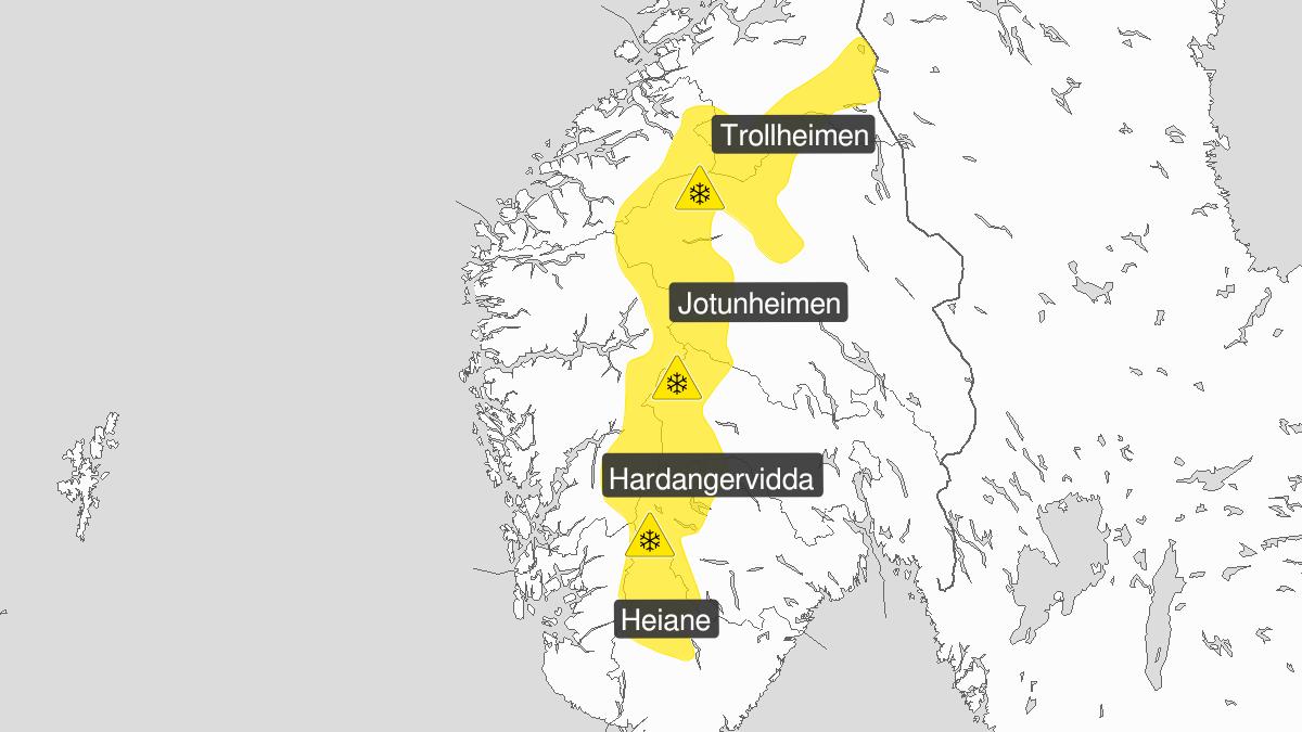 Kart over kraftig snøfokk, gult nivå, Fjellet i Sør-Norge, 25 February 15:00 UTC til 26 February 10:00 UTC.