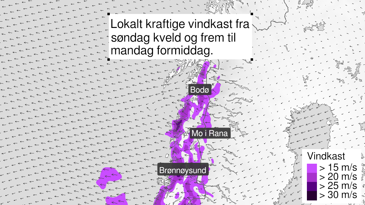 Map of strong wind gusts ongoing, yellow level, Helgeland, Saltfjellet and Salten, 04 October 18:00 UTC to 05 October 10:00 UTC.